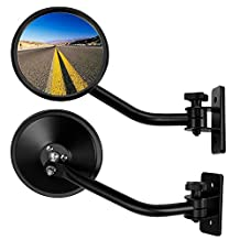 Jeep Wrangler Side-View Mirror by Bosmutus | Left/Right Driver/Passenger Sides Rear-View Mirrors for JK TJ JL Unlimited | Bolt-On Quick Knob Release [Round 2 pcs]