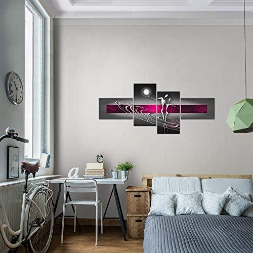 Made in Germany 301245b Runa Art Murale Soggiorno Astratto Figure Rosa Grigio 4 Pezzi