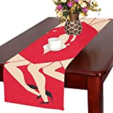 AnnHomeArt woman legs dance Red Lip Table Runner Kitchen Dining Party Table Linen Cloth16x72 inch