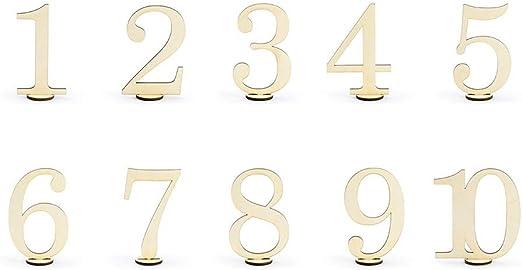 P&D 10 Unidades. Números de Mesa de Madera para decoración de Mesa ...