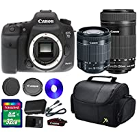 Canon 7D Mark II DSLR Camera +18-55mm IS STM Lens +EF-S 55-250mm f/4-5.6 IS STM Lens + 32 GB SDHC Memory Card + Front Lens Cap + Rear Lens Cap + Strap + Camera Case - International Version