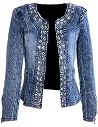 Womens Retro Rhinestone Sequins Open Front Short Denim Jacket