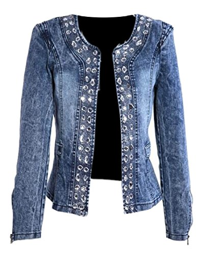 Rhinestone Jackets For Women - Hokny TD Women's Retro Rhinestone Sequins Open Front Short Denim Jacket 2XL