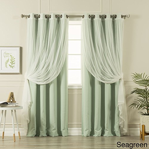 Aurora Home MIX & MATCH CURTAINS Blackout Tulle Lace Sheer Bronze Grommet 4-piece Curtain Panel Pair Sea Green 52 x 63 63 Inches Gathered Tulle