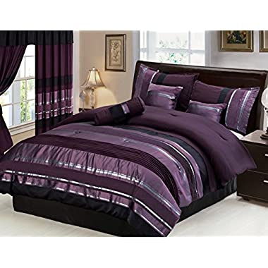 7 Piece Oversize Eggplant Purple / Black silver stripe Chenille Comforter set 94  X 90  Queen Size Bedding