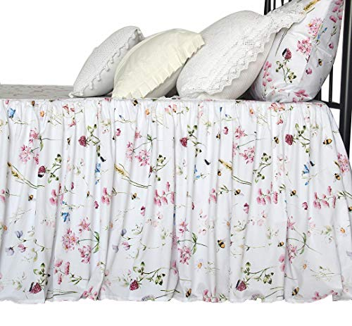 (Queen's House Egyptian Cotton Bedskirts Floral Bed Spread Romantic Bedspreads-H-Queen 24