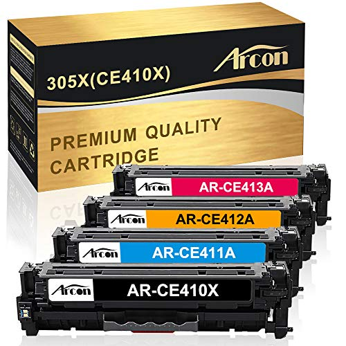 Arcon Compatible Toner Cartridge Replacement for HP 305A 305X CE410X CE410A for HP Laserjet Pro 400 Color M451dn M451nw M451dw MFP M475dw MFP M475dn Pro 300 MFP M375nw M351A Printer (KCMY, 4 Packs)