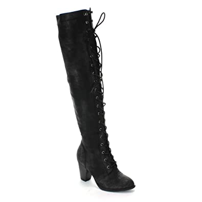 325e328ade776 Forever Women's Chunky Heel Lace up Over-The-Knee High Riding Boots