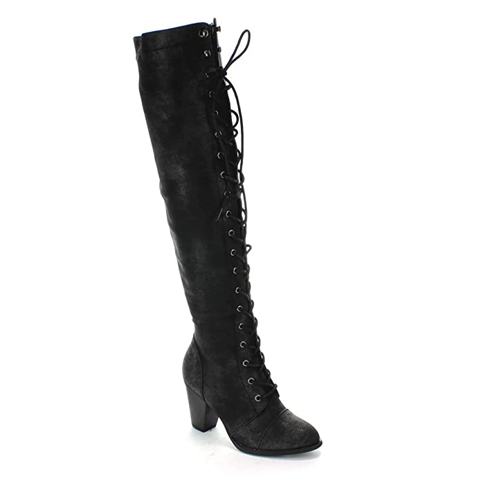 Ladies Victorian Boots & Shoes Womens Thigh High Over-The-Knee Lace-Up Mid-Heel Boot $68.99 AT vintagedancer.com