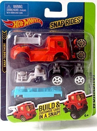 Snap Rides Team Hot Wheels RED Truck Custom Car Set - Create Build & (Custom Diecast Race Cars)