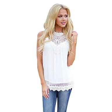 e81841ed0569 STORTO 2019 Women Lace Tank Top Casual Loose Solid Sleeveless Stitching  Ruffled Crochet Vest White