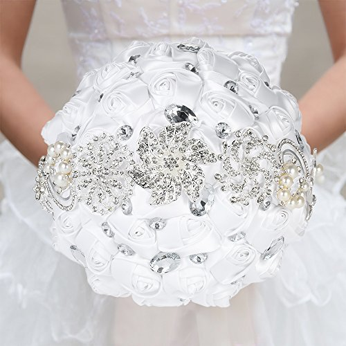 Decdeal Bridal Bouquet, Roses Flowers Crystal Pearl Wedding Bouquet (White ()