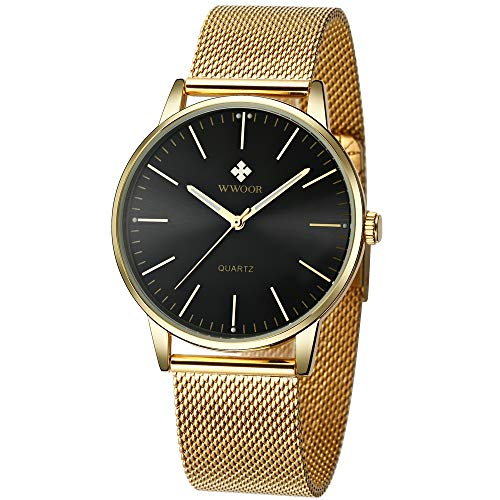 Mens Simple Slim Watch Analog Quartz Waterproof Gold Stainless Steel Mesh Band Thin Black Dial Casual Dress Wrist Watches for Men