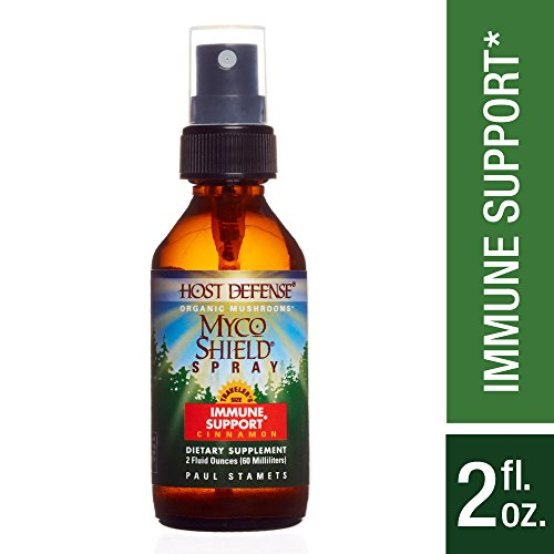 Host Defense - MycoShield Multi Mushroom Spray Cinnamon, Daily Immune Support with Agarikon, Turkey Tails, and Reishi, Non-GMO, Vegan, Organic, 142 Servings (2 oz)