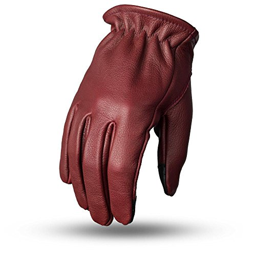1ST MEN'S MOTORCYCLE RIDING LEATHER GLOVES SHORT CUFF OXBLOOD COLOR SOFT LEATHER (3XL Regular) -