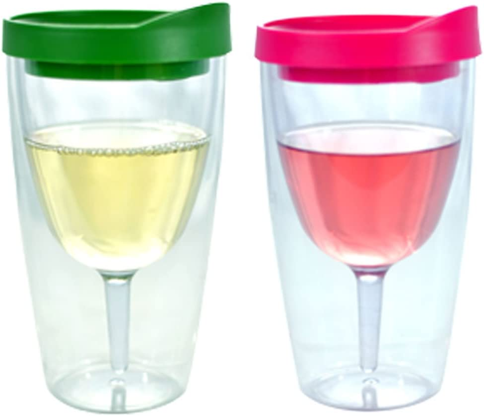 Wine Tumbler - 10oz Insulated Vino Double Wall Acrylic With Pink and Verde Drink Through Lid - Wine 2Go!