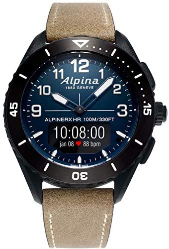Alpina Men's ALPINER X Stainless Steel Swiss Quartz Sport Watch with Leather Strap, Brown, 22 (Model: AL-284LNN5AQ6L)