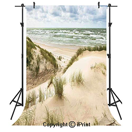Beach Photography Backdrops,Windy Day in The Baltic Seaside in Lithuania Huge Grand Waves Tidal Flow Surfing Spot,Birthday Party Seamless Photo Studio Booth Background Banner 6x9ft,Cream Blue