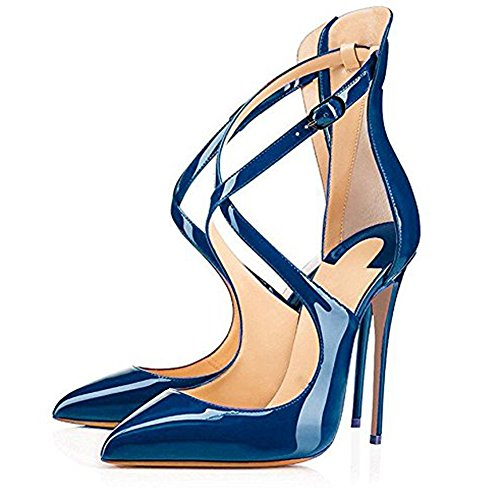 Stiletto Onlymaker Zehen Cross Damen Sandalen Party Hochzeit High Spitze Criss Heels Blau Glas Lack xp0qxg