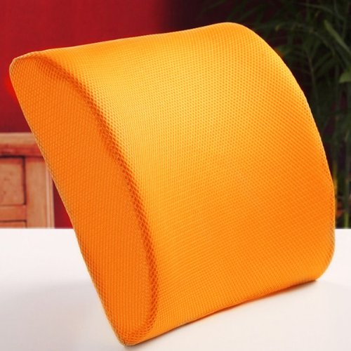 THG High Resilient Memory Foam Orange Seat Back Pain Support Cushion Pillow Pad Car Office Chair Lumbar Lower ache