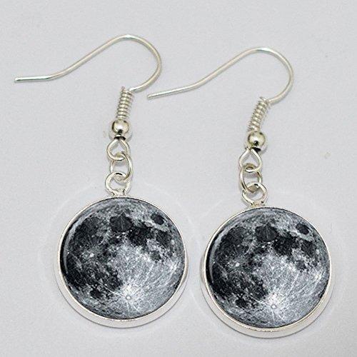 Full Moon Earrings. Charm Earrings.full Moon Earrings. Glass Dome Earrings.