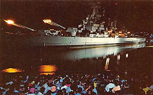- Military Battleship Postcard, Old Vintage Antique Military Ship Post Card Iwo Jima Bombardment, USS North Carolina Battleship Memorial, Wilmington, NC, USA Unused
