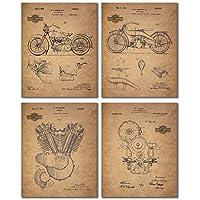 Harley Davidson Patent Wall Art Prints - Juego de cuatro fotos (8x10)