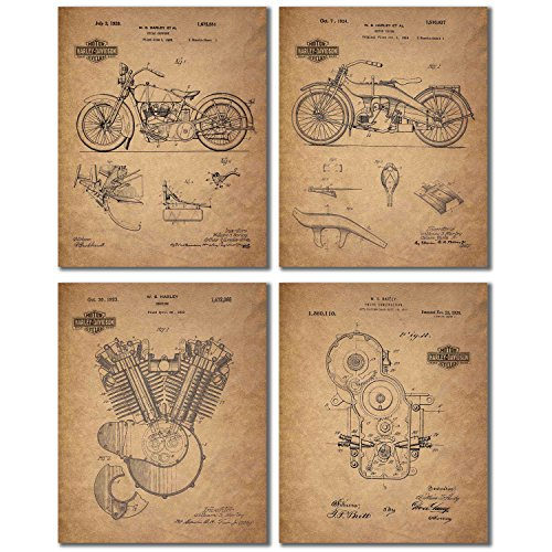 Harley Davidson Patent Wall Art Prints - Set of Four Photos (8x10) (Harley Davidson Mug Shot Glasses)