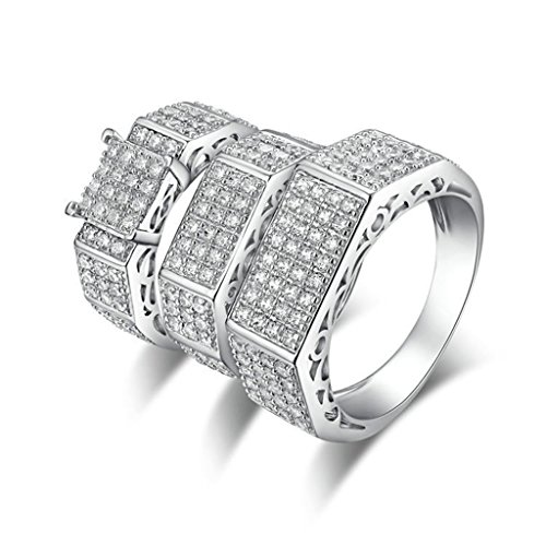 Epinki 925 Sterling Silver Men'S Ring Engagement Rings Square Cubic Zirconia Threefach-Rings Size 10.5 by Epinki