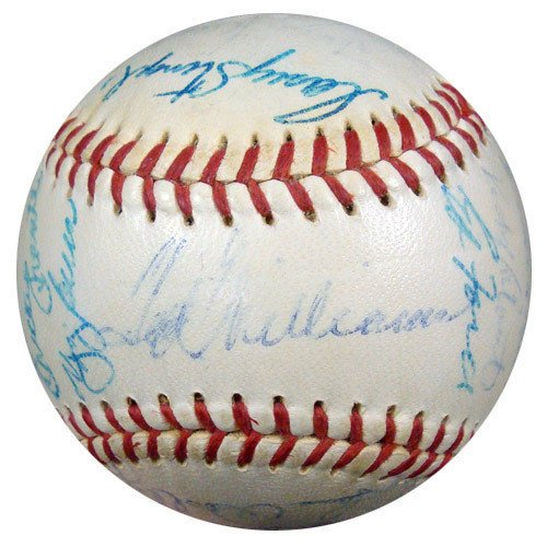 [1959 AL All Star Game Signed American League Harridge Baseball With 26 Signatures Including Mickey Mantle & Ted Williams - JSA Authentic - Autographed MLB Baseballs] (Mickey Mantle Signature)
