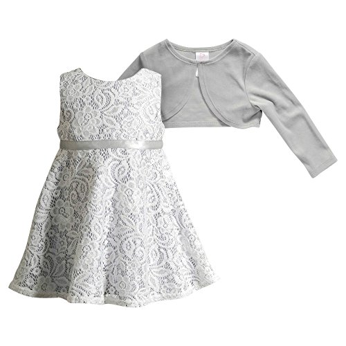 Youngland Little Girls' 2 Pc Dress: Floral Lace Dress With Knit Cardigan, Silver/White, 2