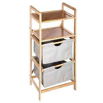 Ablageschrank Fürs Badezimmer Aus Bambus Mit 2 Ausziehbaren Körben