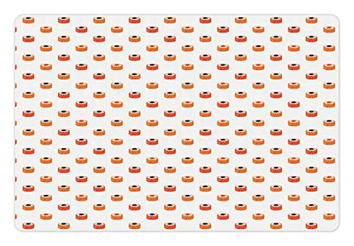Ambesonne Sushi Pet Mat for Food and Water, Repeating Food Pattern Raw Fish and Rice with Caviar Toppings Flat Style, Rectangle Non-Slip Rubber Mat for Dogs and Cats, Orange Salmon Dark Blue