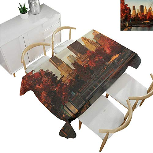 familytaste City,Oblong Tablecloth,Old Port of Montreal Early in The Morning Scenic Autumn Trees Buildings Canada,Table Cloth Home Decoration 60