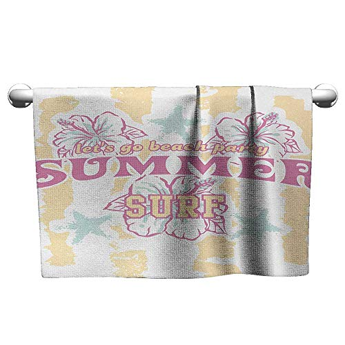 Bensonsve Baby Bath Towel Abstract,Summer Theme Flowers and Surf Image in Vintage Designed Print,Pink White and Light Yellow,Beach Towel for Toddler