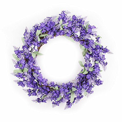 FAVOWREATH 2018 Romance Series FAVO-W13 Handmade 12 inch Purple Lavender Fall Grapevine Wreath For Spring Summer Festival/Memorial Day Front Door/Wall/Fireplace Wedding Floral Hanger Floral Home Decor by FAVOWREATH