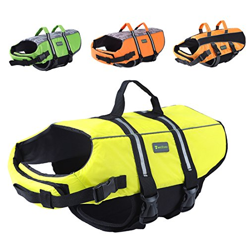 Wellver Dog Life Jacket Pet Life Preserver Saving Vest with Reflective Strips,Medium,Green,Yellow