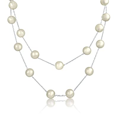 Bling Jewelry V Shaped Simulated Pearl Rhodium Plated Bridal Necklace 16 Inches mauJeLSaL
