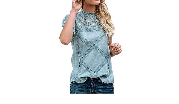 VEMOW Tops Mujer Camisetas Manga Corta Blusas Encaje para ...