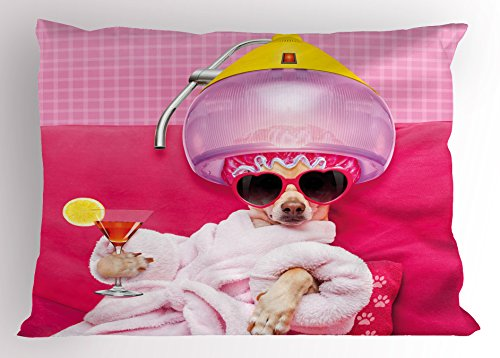 Ambesonne Funny Pillow Sham, Chihuahua Dog Relaxing and Lying in Wellness Spa Fashion Puppy Comic Print, Decorative Standard Queen Size Printed Pillowcase, 30 X 20 inches, Magenta Baby Pink