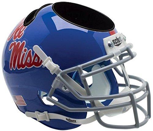 OLE MISS REBELS NCAA Schutt MINI Football Helmet OFFICE DESK CADDY MISSISSIPPI (LIGHT BLUE)