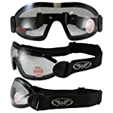 Search : 3 Skydive Goggles Clear Smoke Yellow ANTI-FOG Lenses Flare Motorcycle Goggles
