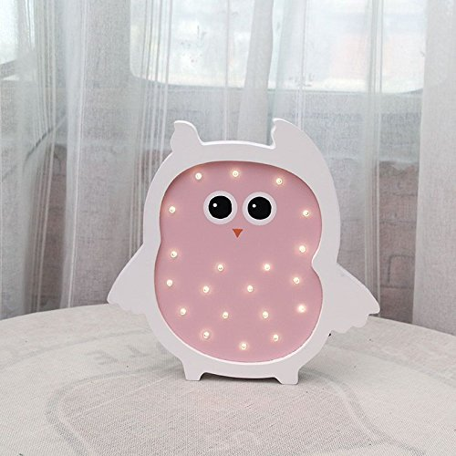 Cute Pink Owl Wooden LED Marquee Light by LiCheng Brial Battery Powered Wooden Decorative Table Lamps for Nursery Decor,Kid's Room Home Decor&Gifts Pink