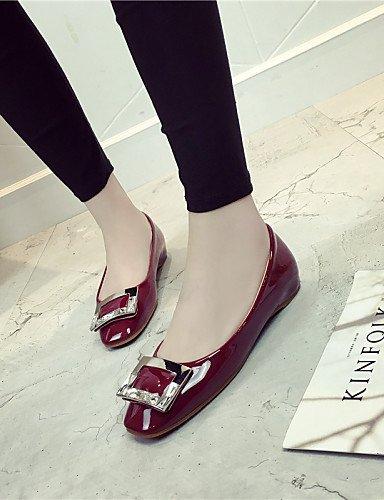 Mujer Taln De us8 Cuadrado gris de Flats Zapatos Eu39 Cn40 Ballerina Vestido Pie dedo 5 Uk6 Plano Burgundy burgundy Del cerrado Toe Pdx 5 Negro HEqtIWwq