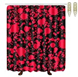 COVASA Decorative Water Repellant Shower Curtain 72x72 Inches Comes with 12 Hooks (Classic Horror Blood Splatter Black)