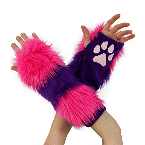 [Pawstar Furry Cheshire Cat Striped Paw Warmers Arm Fingerless Gloves - Classic] (Cheshire Cat Costumes For Women)