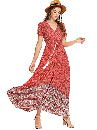 Milumia Women Floral Print Button Up Split Flowy Party Maxi Dress Red-3 Medium