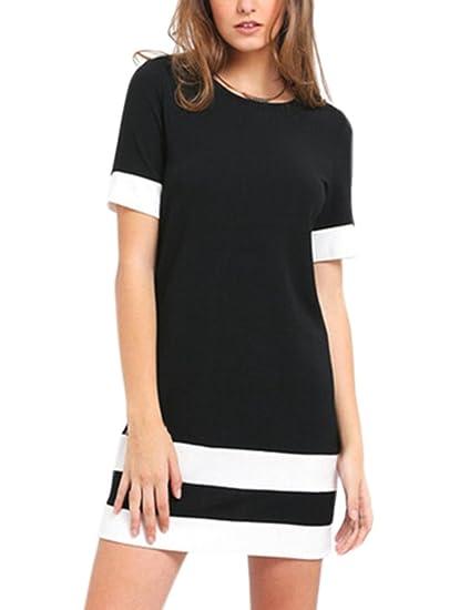 Vestidos Verano Mujer Casual Camisetas Vestido Corto Rayas Ropa Fiesta Moda Cuello Redondo Manga Corta Elegante Fiesta T Shirt Slim Fit Dresses For Women ...