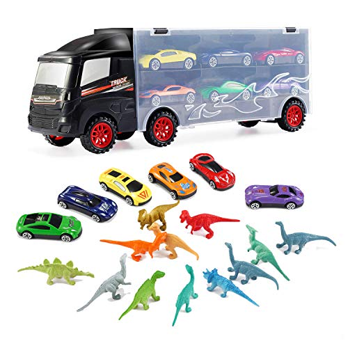 iLifeTech Toy Cars Die Cast Transport Carrier Cars Truck Toy, 3 Mini Die Cast Cars, 3 Mini Die Cast Sports Cars,12pcs Mini Dinosaurs Toy for 3+ Years Old Boys/Girls