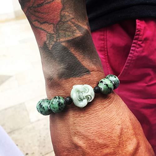 Jade Buddha with Lava and Ruby Zoisite Men women Unisex Bold Chunky - Jade Womens Charm